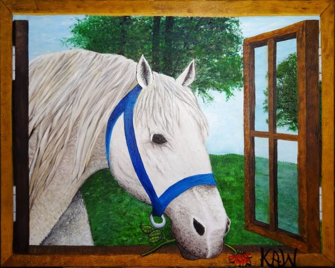 painting of a white horse poking his head through an open window