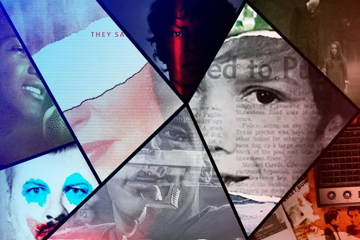 Collage of true crime documentary series cover art
