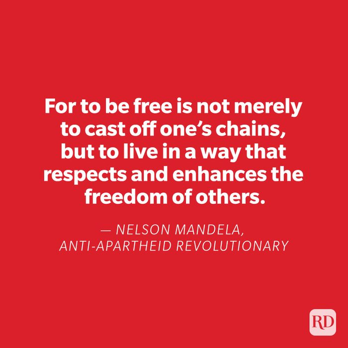 Nelson Mandela quote on red