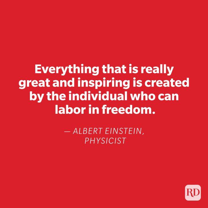Albert Einstein quote on red