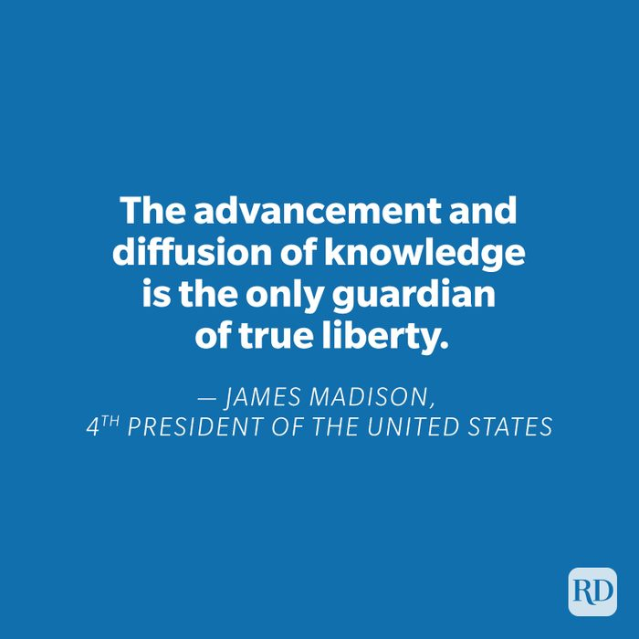James Madison quote on blue