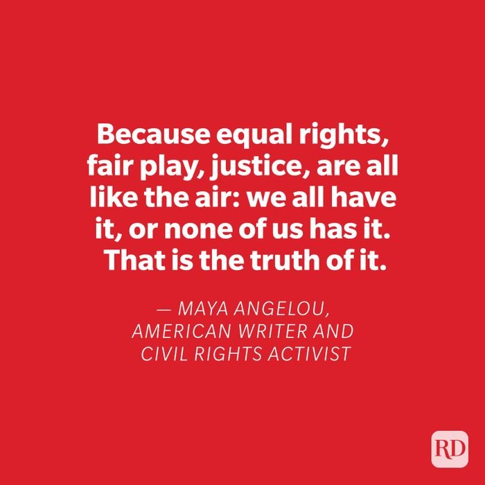 Maya Angelou quote on red