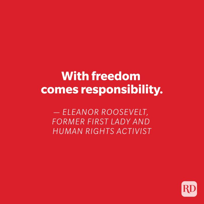 Eleanor Roosevelt quote on red