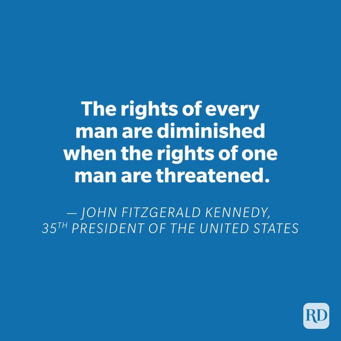 JFK quote on blue