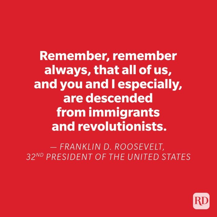 Franklin D Roosevelt quote on red