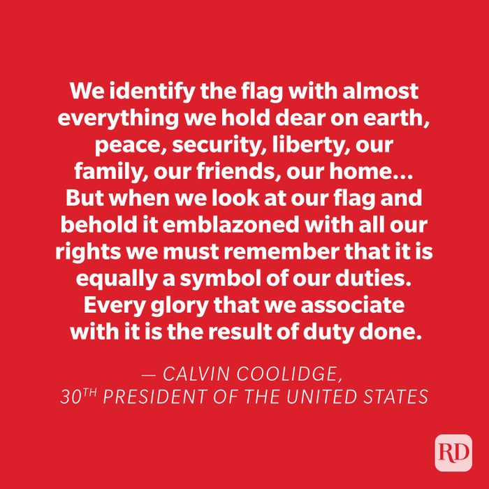 Calvin Coolidge quote on red