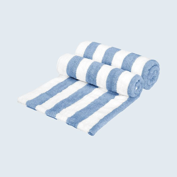 2 partly rolled out striped towel