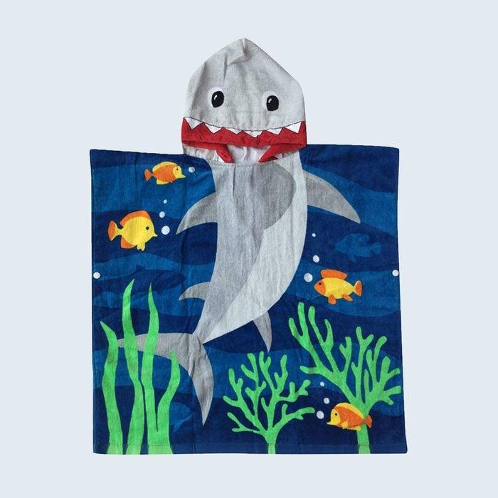 underwater themed beach towel with shark face hood