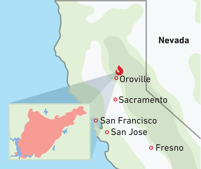 Bearfire Map that locates the fire right outside of Droville California