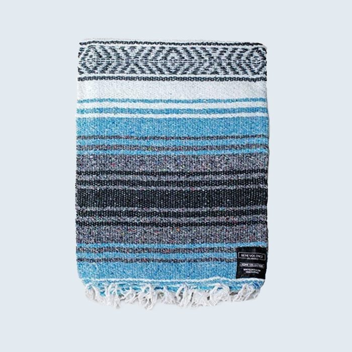 Black blue and white striped beach towel