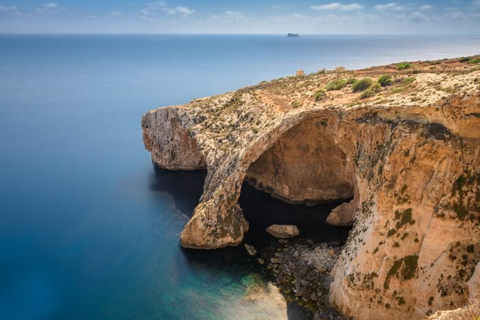Aerial view of Blue Grotto in Malta