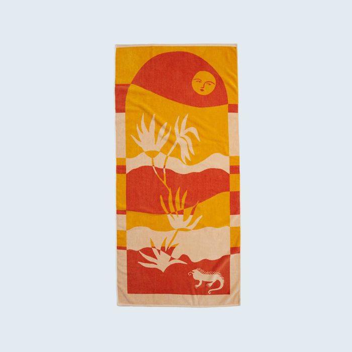 sun themed Brooklinen Beach Towel