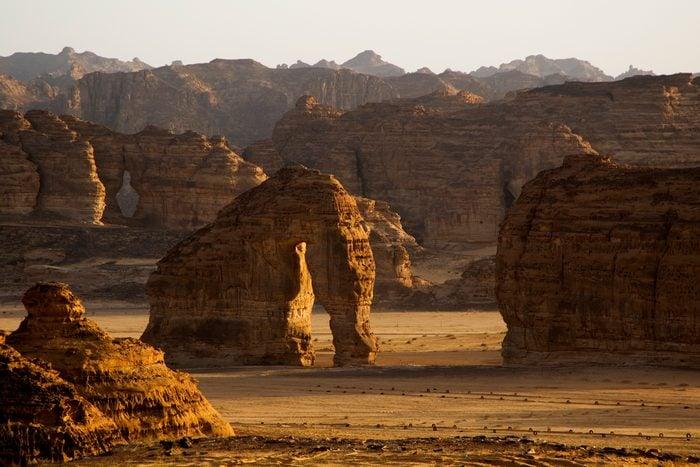 Elephant Rock in desert near Al Ula oasis in Saudi Arabia