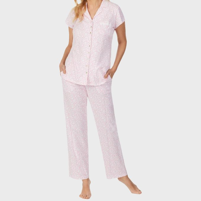 Floral Short Sleeve Jersey Capri Pajamas From Eileen West