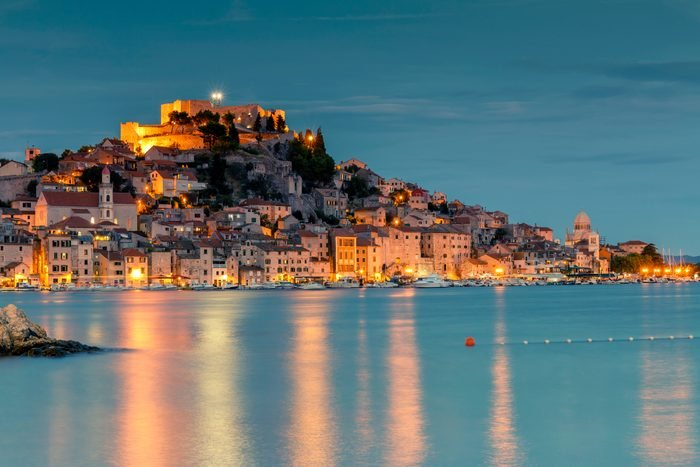 Old town of Sibenik Croatia at night