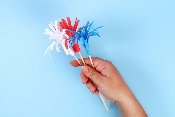 Diy 4th of July paper salute color American flag, red, blue, white. idea, decor USA Independence Day
