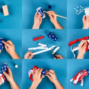 Diy windsocks 4th of July toilet sleeve crepe paper colors American flag, red, blue, white. collage