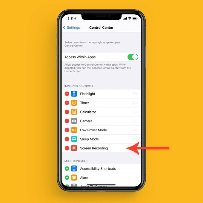 customize control center settings on iphone to include screen recording icon