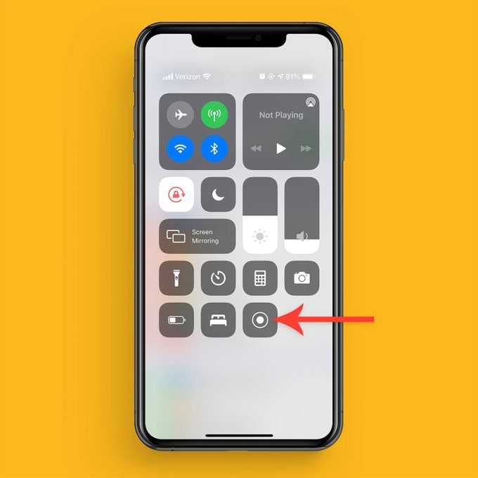 Select Screen Record Icon From Control Center on an iPhone