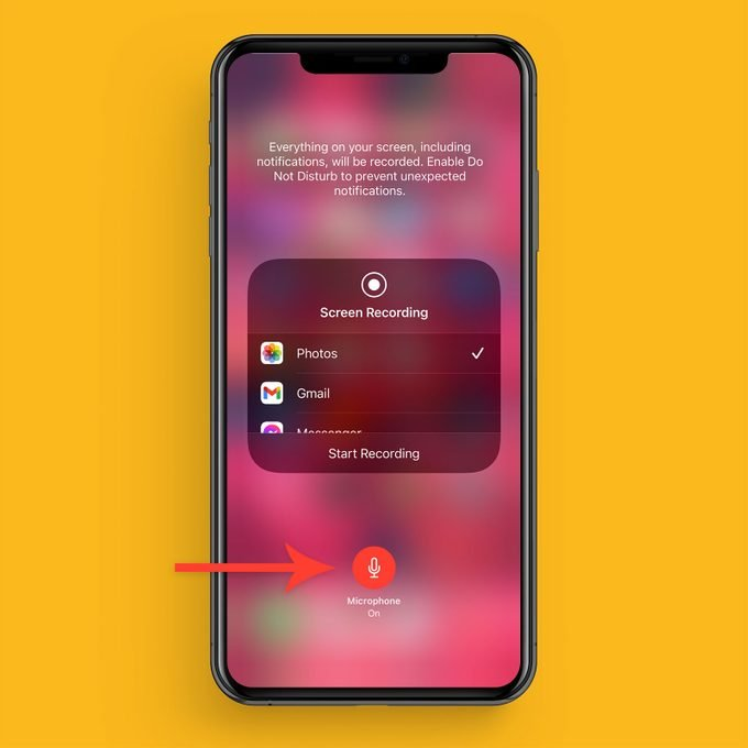 Turn Microphone On Or Off for Screen Recording on a iPhone