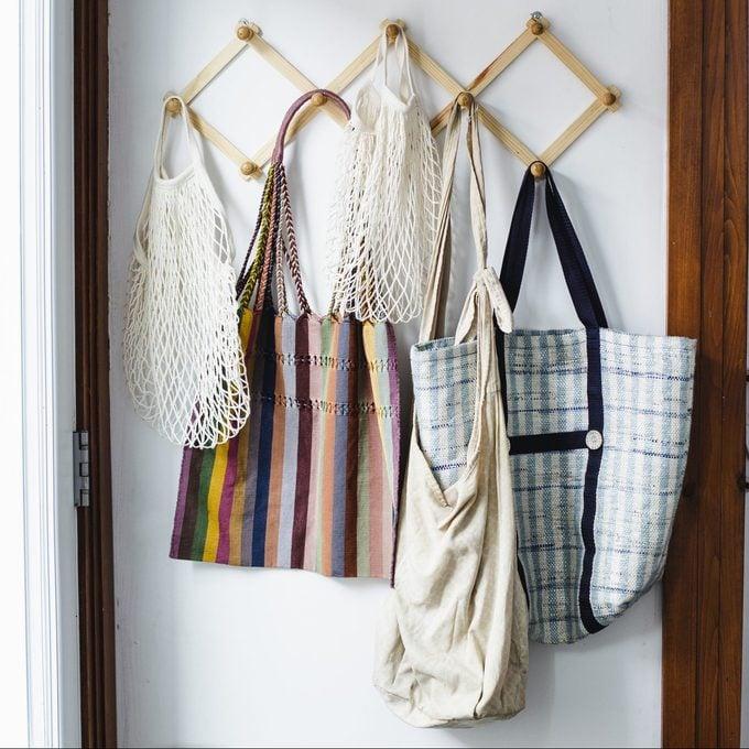 Reusable bags hanging