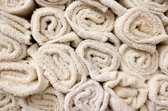 Closeup of rolled towels