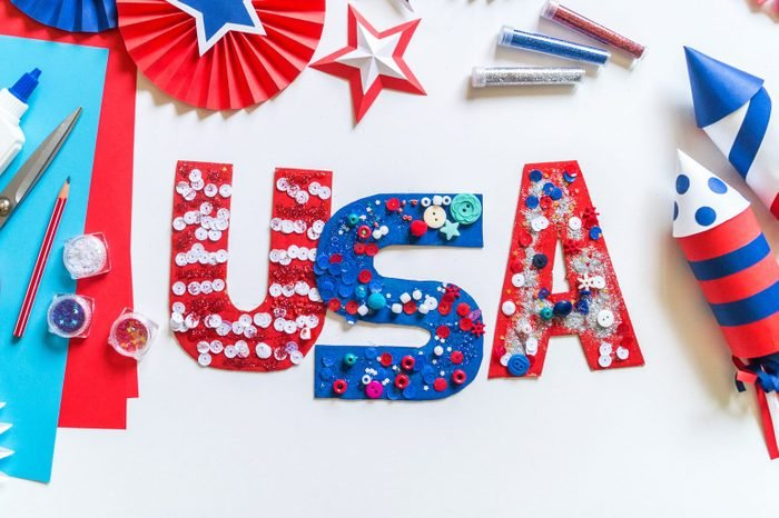 Diy 4th of July decor USA letters color American flag. Children craft