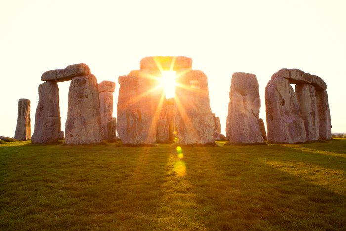 Dramatic Sunset at Stonehenge on the summer solstice