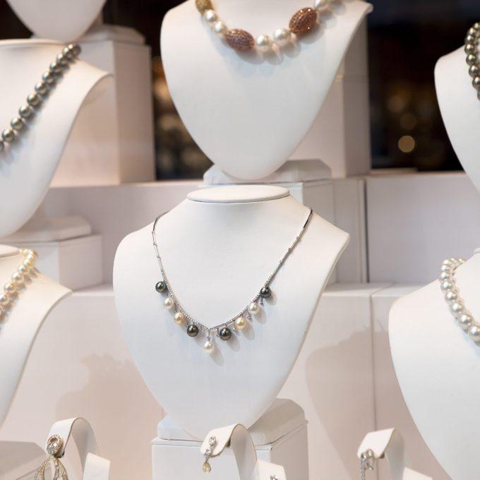 Jewelry on window display