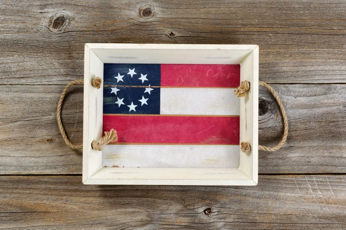 american flag painted tray on wood background