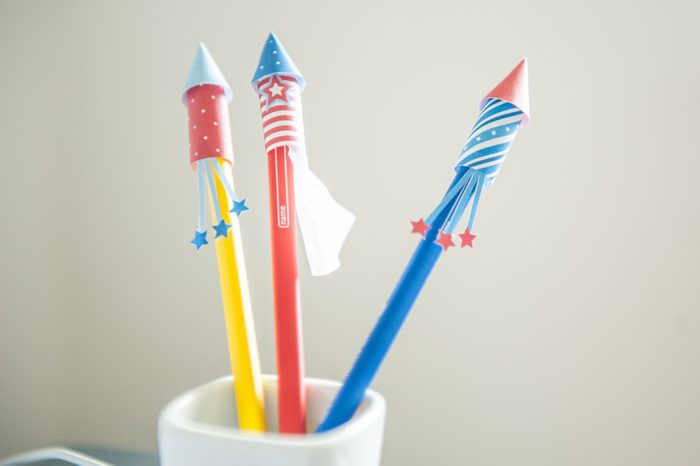 Fourth of July Paper Firework Rocket Pencil Toppers