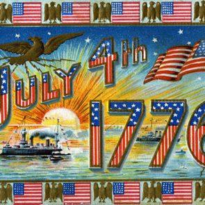 July 4th 1776 Patriotic Vintage Postcard