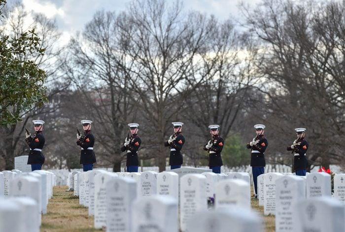 ARLINGTON, VA - JANUARY 23: The Marines firing squad salutes re