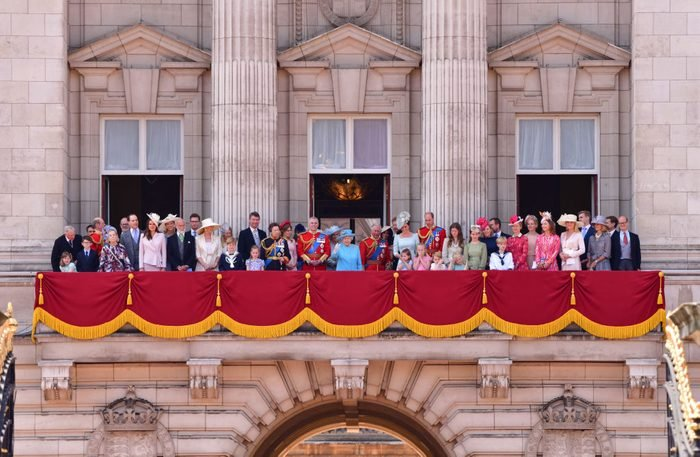 Queen Elizabeth II and members of the British Royal family stand on the balcony of Buckingham Palace during the Trooping the Colour parade on June 9, 2018 in London, England.