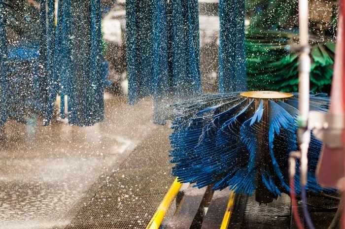 Car wash brushes and water