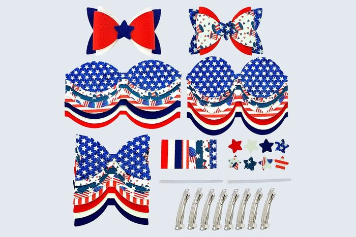 July Fourth Independence Day Faux Leather Hair Bows Diy Crafts Making Kit
