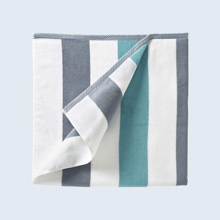 folded striped beach towel