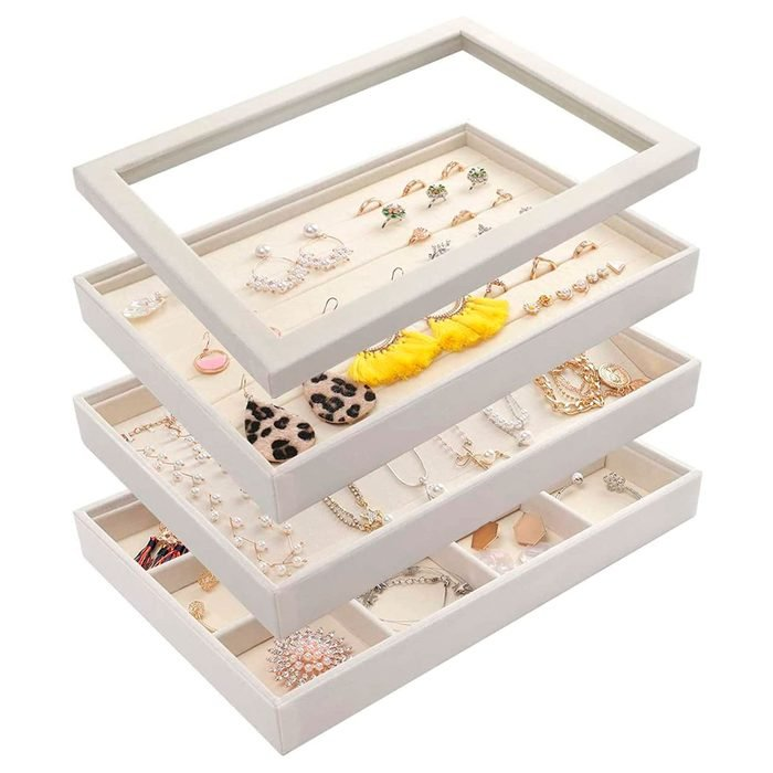 Mebbay Stackable White Velvet Jewelry Trays