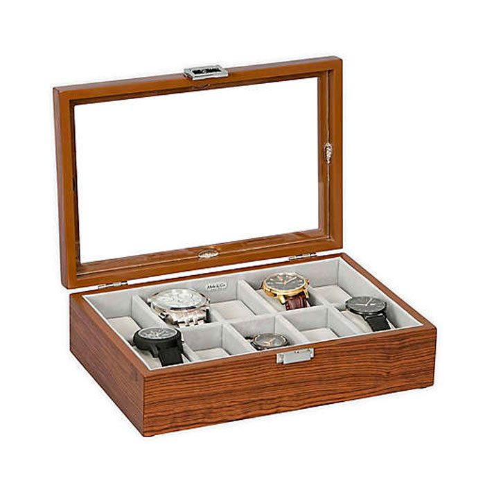 Mele & Co Jayson Glass Top Wooden Watch Box