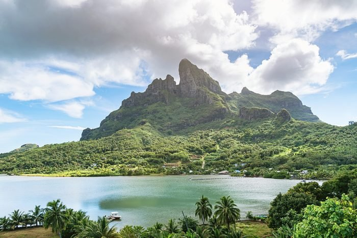 view of Mount Otemanu in Bora Bora from a distance