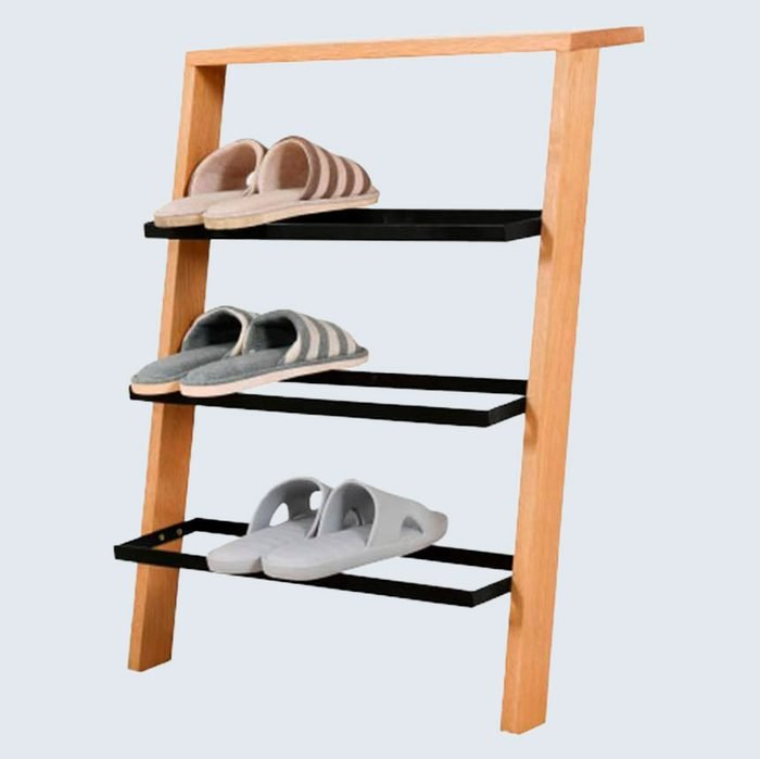 Nordic 4 Tier Ladder Style Solid Wood Shoe Rack