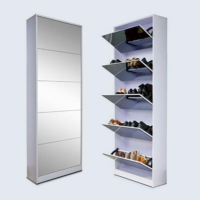 Organizedlife Wood Shoe Cabinet Storage Cabinet Shoe Rack With Drawer Full Mirror