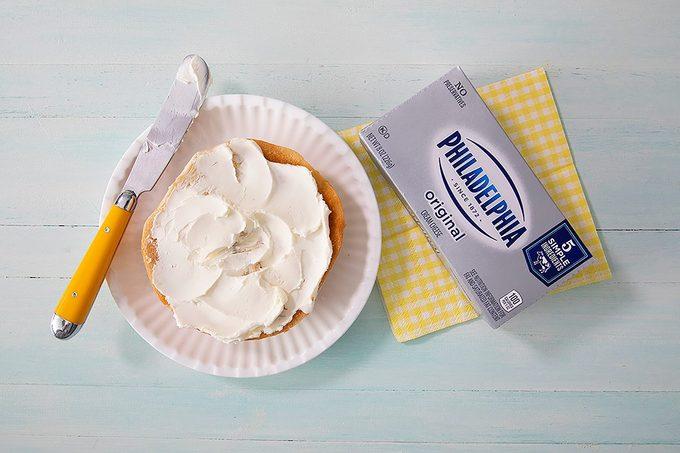 Kraft Philadelphia Cream Cheese On Bagel And In Package