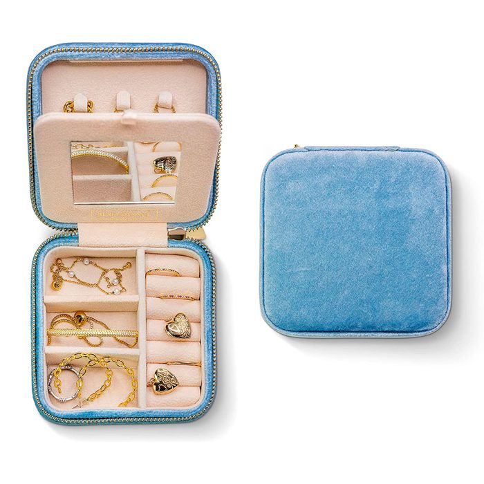 Plush Velvet Travel Jewelry Box Organizer