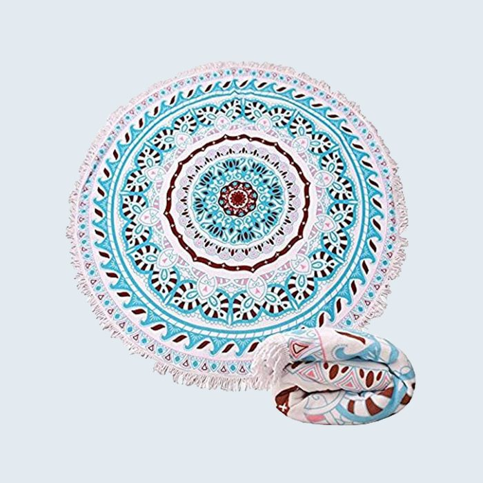 patterned round beach towel