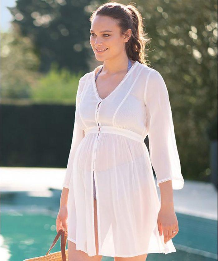 Seraphine Ivory Maternity Kaftan