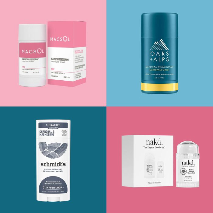 4 deodorants on colored backgrounds