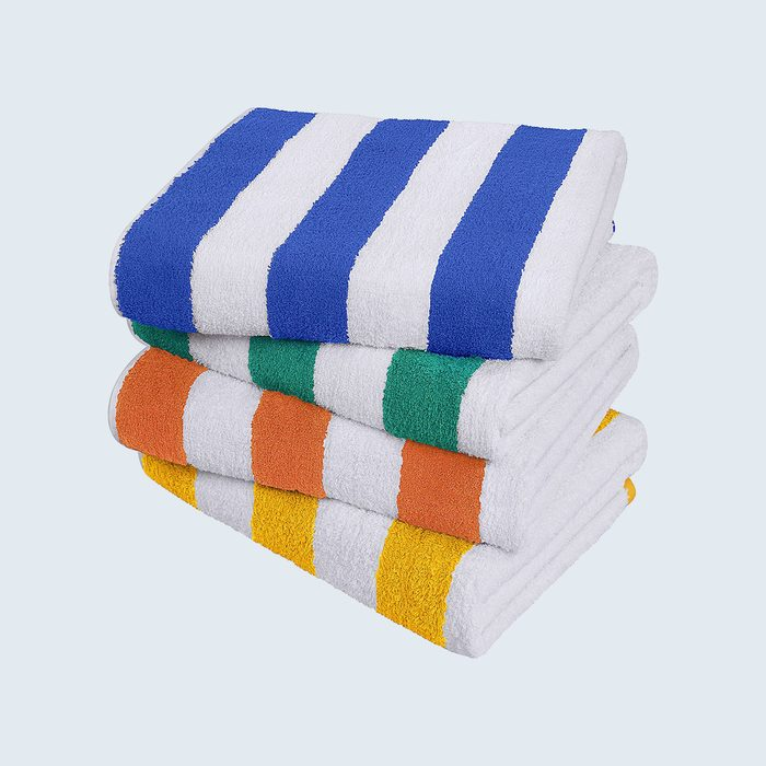 Stack of 4 striped towels