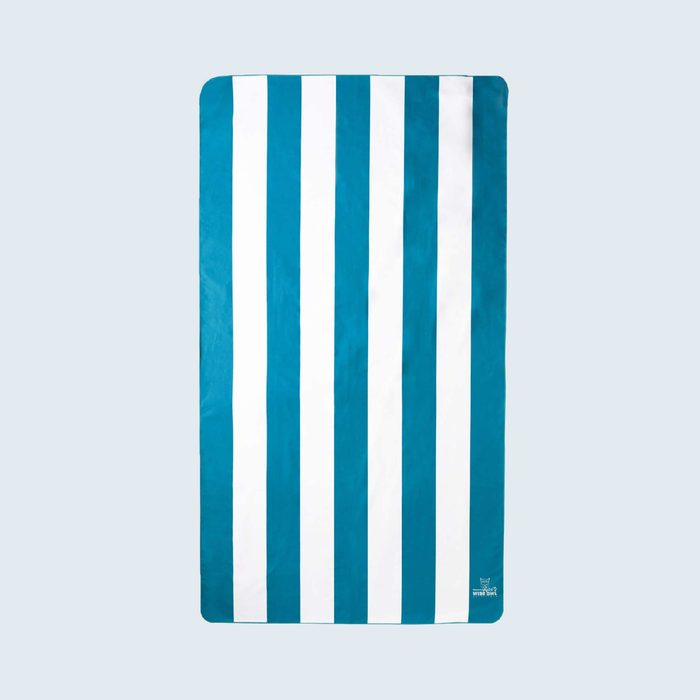 blue and white striped beach towel
