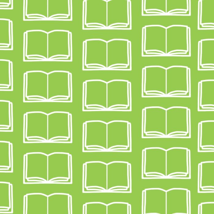 Open books in repeated pattern on green background